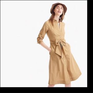 J.CREW Tie-waist shirtdress in cotton poplin.